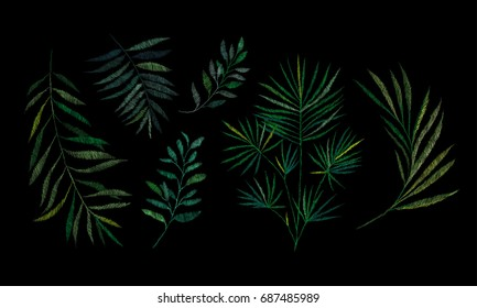 Set, a branch of a tropical palm tree. Traditional folk stylish stylish floral embroidery on the black background. Sketch for printing on fabric, clothing, bag, accessories and design. vector. Trend