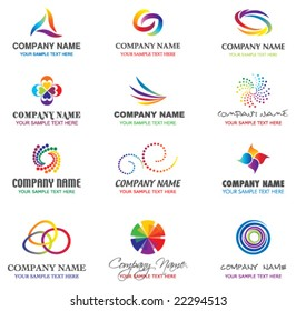SET OF BRAND IDENTITY DESIGN ELEMENTS. Vector icons, symbols and templates such as logos.