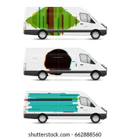 Set of branding design templates white bus in modern geometric style. Mock up transport for advertising, business and corporate identity.