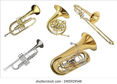 set of brass instruments: trumpet, flugelhorn, french horn, trombone, tuba isolated white background. vector, realism