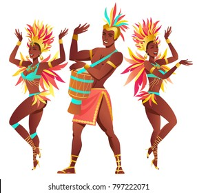 Set of Brazilian samba dancers Rio de Janeiro. Vector carnival girls and guy dancing.