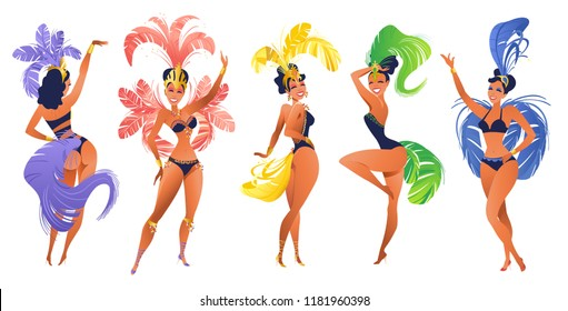 Set of Brazilian samba dancers Vector carnival in Rio de Janeiro girls wearing a festival costume is dancing.