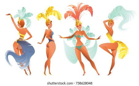 Set of Brazilian samba dancers. Vector carnival in Rio de Janeiro girls wearing a festival costume is dancing.
