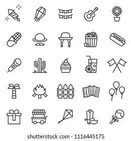 Set of Brazilian Traditional Celebration Festa Junina Icons Collection. Portuguese Brazilian Text saying Fair. Festa de Sao Joao. Festive Vector, Infographic, Pictogram, Thin Line Style, Perfect Pixel