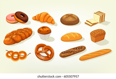Set of bread food, sliced bricks of butterbrot bakery, anadama and baton or baguette, kifli and challah, bagel and kringle, french donut or doughnut, croissant, cake with raisins. Nutrition theme