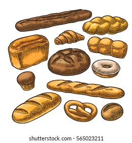 Set bread. Isolated on the white background. Vector color hand drawn vintage engraving illustration for poster, label and menu bakery shop.