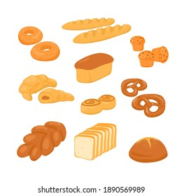 Set of bread on a white background in the cartoon style. Fresh and testy rye and wheat bread, croissant, pretzel, muffin, bagel, roll, toast bread, baguette.
