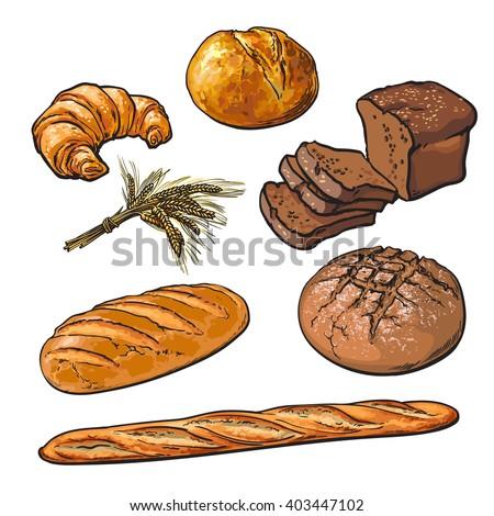 Set Bread Products Pastries Vector On Stock Vektorgrafik Lizenzfrei