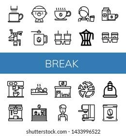Set of break icons such as Coffee cup, Breakdance, Gangsta, Coffee mug, Cup carrier, Barista, Coffee maker, Cupping, shop, Broken plate, bag , break