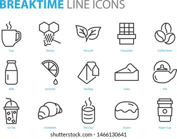 set of break time icons, coffee, tea, cake, pot