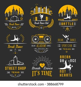 Set of Breakdance Bboy Silhouettes in Different Poses. Collection logo and badges hip-hop school, academy, break dance battle, club, cup and league. Sign Hip-hop, graffiti and street dance.
