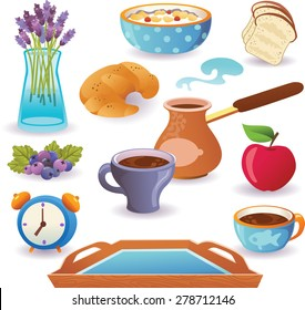 Set of breakfast icons isolated on white background. Vector illustration