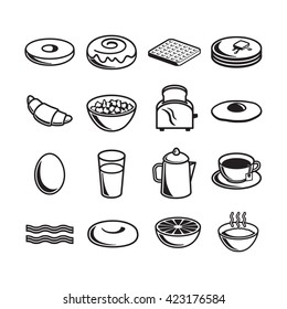 Set of breakfast items