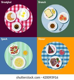 Set of breakfast, lunch, brunch and dinner. Food illustration.
