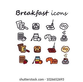 Set of breakfast vector icons
