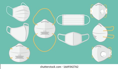 set of breathing protective medical respiratory ffp1, N95, cloth, surgical masks, dust protection respirator, air pollution, disease, virus prevention, flu protection, flat vector illustration