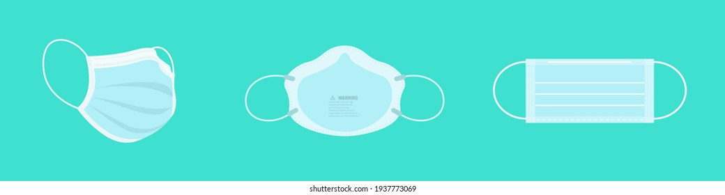 Set of breathing protective medical, surgical masks, dust protection respirator, disease, virus prevention, flu protection, vector illustration.