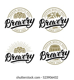 Set of Brewery hand written lettering logo, label, badge template with hop for beer house, bar, pub, brewing company, tavern. White background. Vintage style. Vector illustration.