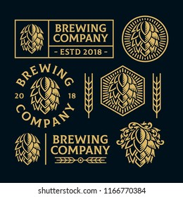 Set of brewery illustration logos. All text are curved. Suitable for graphic element and other design needs. Non-Layered