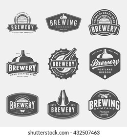 set of brewery labels, badges and design elements. vector illustration