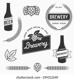 Set of brewery logos, labels and design element. Stock vector. Vintage craft beer emblems, templates, symbols.