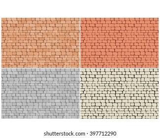 Set of brick floor seamless pattern, vector