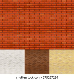 Set of brick wall backgrounds. Texture surface, block rough, brickwork and stone. Vector illustration