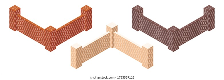 Set of brick walls with cement mortar. Set of colorful isometric brick fence section icon. Masonry barrier. Brickwork. Isolated on white background. 3D. Vector illustration.