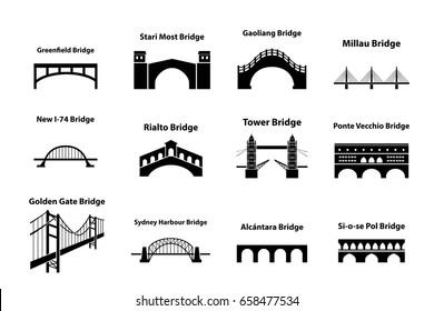 Set of bridge landmark icons in silhouette style