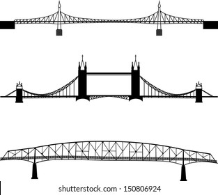 Set of bridge silhouette
