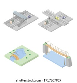 Set of bridges. Different types of bridges - pedestrian, road, across the river and lake. Highway with an overpass. Style is isometry. Vector isolated illustration.