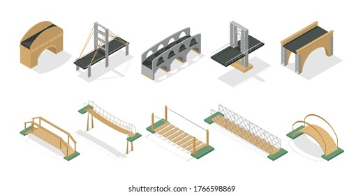Set of bridges. Pedestrian and road bridge. Different types - wooden, concrete, metal, hanging. An element of the urban environment. Style is isometry. Vector isolated illustration.
