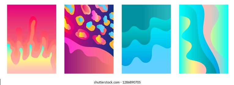 Set of bright A4 covers with abstract wavy shapes and splashes. Template for books, cards, banners, posters. Minimalistic design with fluid gradients. Sea and corals shades palette.