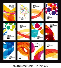 Set of bright abstract backgrounds. Business card.Vector design eps 10