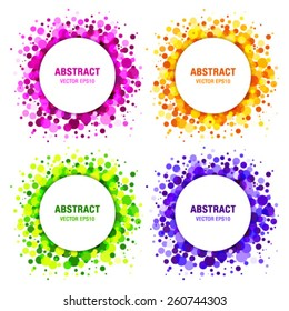 Set of Bright Abstract Circles Frames Design Elements, cosmetics, soap, shampoo, perfume, medical, label background, vector illustration