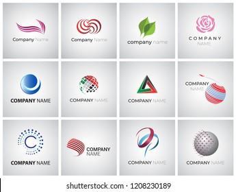 Set of bright abstract design elements for logo design