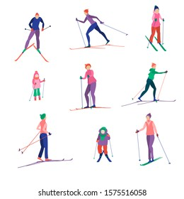 Set of bright abstract skiers. Men, women, children skiing, active winter sports.
