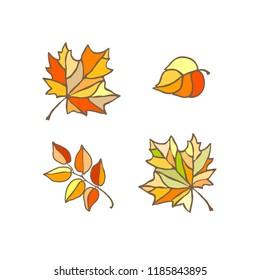 set of bright autumn leaves, stylized vector illustrstion