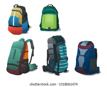 Set of bright backpacks for travel and school, different models , isolated on white background.