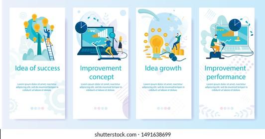 Set Bright Banner Improvement Concept, Cartoon.  Poster Inscription Idea of Success, Growth Idea, Improvement of Performance. Time Frame for Performance Improvement. Vector Illustration.