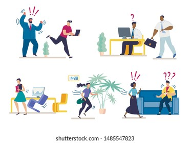 Set Bright Banner Misunderstanding at Work Flat. Modern and Comfortable Space. Aggressive Boss Drives Office Subordinates. Difficulty Communicating in Workplace. Cartoon. Vector Illustration.