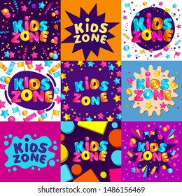 Set of bright banners and templates for kids zone of game room or playground. Fun set of lettering for kids zone decoration, cartoon vector illustration.