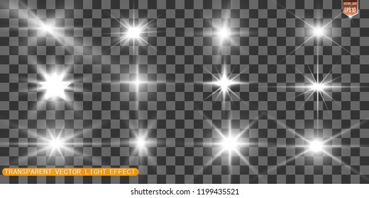 A set of bright beautiful stars. Light effect. Bright Star. Beautiful light for illustration. Christmas star.White sparkles shine special light effect. Vector sparkles on a transparent background.