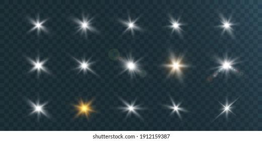 Set of bright beautiful stars twinkling beautiful lights vector graphics.