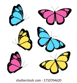 A set of bright butterflies isolated on a white background. Vector illustration.