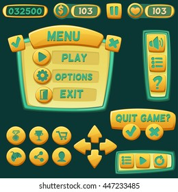Set of bright cartoon buttons for casual games. Graphic user interface, vector illustration.