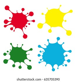 Set of bright color blobs. Flat vector cartoon illustration. Objects isolated on a white background.