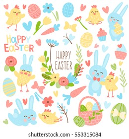 Set of bright colored vector elements for Easter. Flowers, heart, colored eggs, chickens, rabbits and lyrics for Easter design.