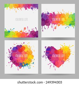set of bright colorful banners