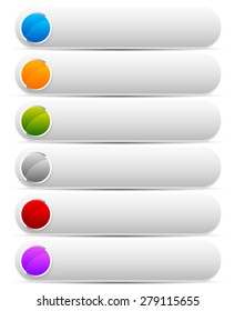 Set of bright, colorful button, banner backgrounds with white space